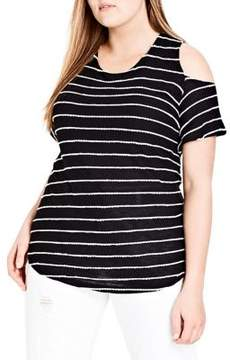 City Chic Plus Whisper Cold-Shoulder Striped Top
