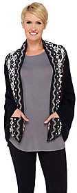 Muk Luks Knit Wrap with Pockets and Nordic Fairisle Trim