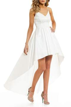 B. Darlin V-Neck Lace Bodice Long High-Low Dress