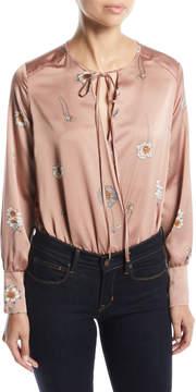 Astr Gracie Floral-Print Charmeuse Bodysuit