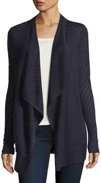 Neiman Marcus Vertical-Striped Draped Cashmere Cardigan