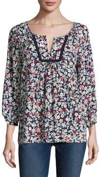 Velvet by Graham & Spencer Women's Floral Printed Split Scoopneck Blouse