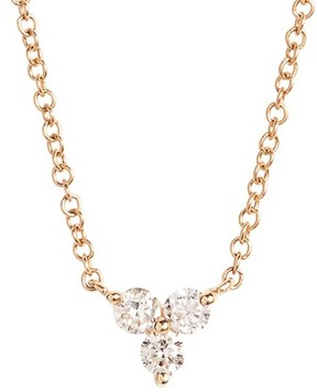 Ef Collection Women's Trio Diamond Pendant Necklace