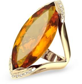 Forzieri Orange Gemstone and Diamond Yellow Gold Fashion Ring