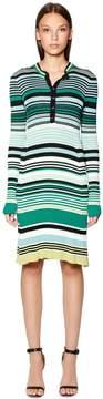 Diesel Black Gold Striped Viscose Rib Knit Dress