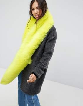 Asos Faux Fur Long Scarf In Neon Yellow