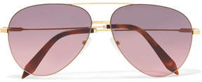 Victoria Beckham Classic Victoria Aviator-style Acetate And Gold-tone Sunglasses - Pink