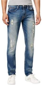 GUESS Mens Distressed Tapered Slim Fit Jeans Blue 40x31