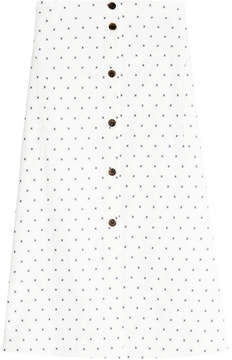 Jil Sander Navy Embroidered Cotton Skirt