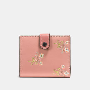 COACH Coach Small Trifold Wallet In Glovetanned Leather With Floral Bow Print - BLACK COPPER/PINK - STYLE