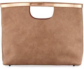 Neiman Marcus Large Metallic-Trim Handheld Tote Bag
