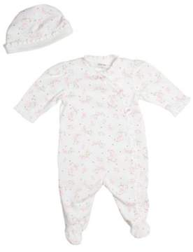 Little Me Newborn Girls 0-9 Months Ruffled Footie Coveralls with Hat