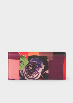 Paul Smith Women's 'Rose Collage' Print Leather Tri-Fold Wallet