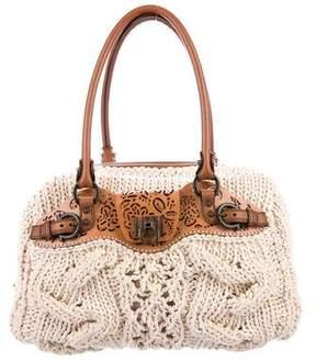 Salvatore Ferragamo Leather-Trimmed Crochet Bag