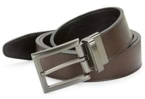 Black & Brown Black Brown Leatherette Square Buckle Belt