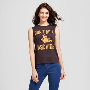 Fifth Sun Women's Don't Be A Basic Witch Graphic Tank Top Charcoal Gray Juniors')