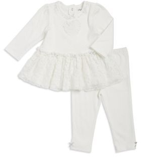Little Me Baby Girls Two-Piece Scalloped Trimmed Cotton Top and Leggings Set