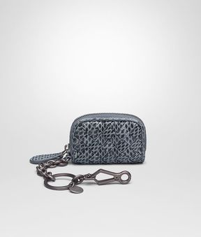 Bottega Veneta Key Ring In Krim Intrecciato Ayers