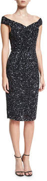 Rachel Gilbert Essi Hand-Embellished Off-the-Shoulder Dress, Black