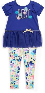 Juicy Couture Little Girl's Ruffle Ribbon Top & Floral Leggings Set