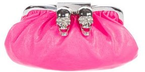 Philipp Plein Skull Textured Leather Clutch