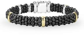 Lagos Black Caviar Ceramic Sterling Silver and 18K Yellow Gold Station Bracelet