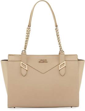 Versace Saffiano Leather Chain Shoulder Bag, Beige