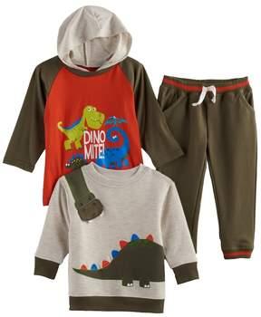 Nannette Baby Boy 3-pc. Dinosaur Hooded Tee