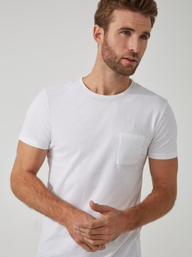 Frank and Oak Crewneck Pocket T-Shirt in White