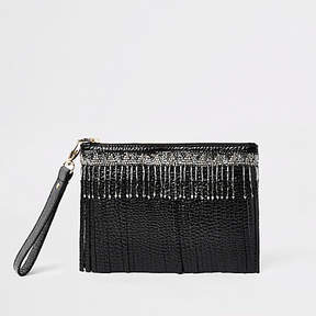 River Island Black leather beaded fringe clutch bag
