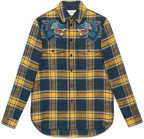 Plaid shirt with wolf embroidery