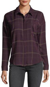 Astr Bea Plaid Button-Front Blouse