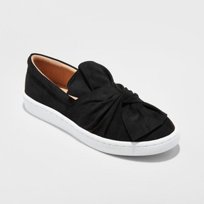 Mossimo Women's Alloy Slip On Sneakers with a Knot and Bow - A New Day Black