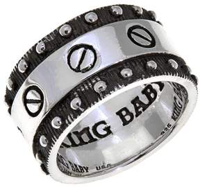 King Baby Studio Jewelry Sterling Silver Flat Screw Band Ring