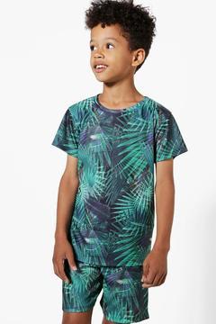 boohoo Boys Palm Print T-Shirt & Shorts Set