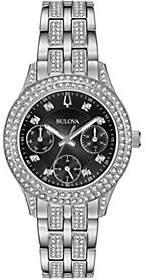Bulova Women's Swarovski Crystal Watch w/ BlackDial