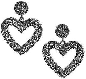 American West Sterling DiamondCut Scroll HeartDangle Earrings
