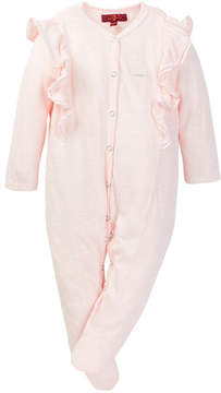 7 For All Mankind Ruffle Trim Footie (Baby Girls)