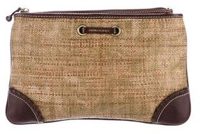 Burberry Leather-Trimmed Woven Clutch - BROWN - STYLE