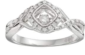 Brilliance+ Brilliance In Motion Brilliance in Motion 1/8 Carat T.W. Diamond Sterling Silver Crisscross Square Halo Ring