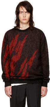 Saint Laurent Black and Red Flame Sweater