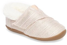 Toms Infant Girl's Tiny Faux Fur Metallic Slipper