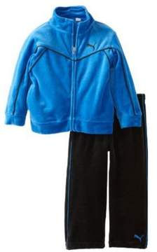 Puma Toddler Boys 2 Piece Blue & Black Velour Jacket & Pants Set 24m