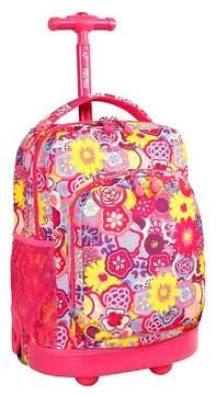 J World J-World Sunny Rolling Backpack - Pink Poppy Pansy