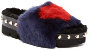 Ivy Kirzhner Teddy Genuine Rabbit Fur & Genuine Shearling Slip-On Sandal