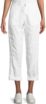 Neiman Marcus Two-Button Lace-Inset Linen Cargo Pants