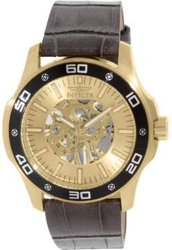 Invicta Specialty Gold Skeletal Dial Grey Leather Men's Watch 17262
