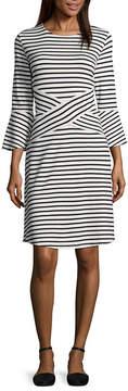 ECI WESLEE ROSE 3/4 Sleeve Stripe Shift Dress