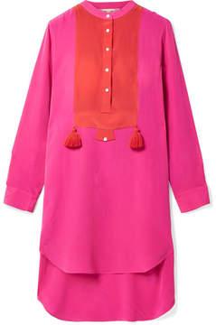 Figue Thalie Tasseled Two-tone Washed-silk Mini Dress - Fuchsia