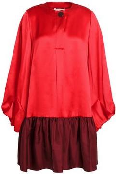 Roksanda Two-Tone Crinkled Silk-Satin Mini Dress